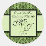 Etiquetas verdes personalizadas del favor del boda etiqueta redonda