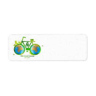 Etiquetas verdes respetuosas del medio ambiente am etiquetas de remite