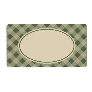 Etiquetas verdes rústicas de la guinga etiqueta de envío