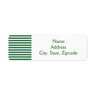 Etiquetas verdes y blancas de las rayas etiqueta de remitente