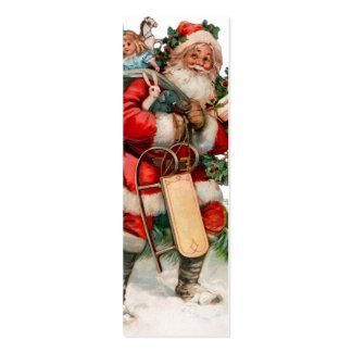 Etiquetas viejas alegres del regalo de San Nicolás Tarjetas De Visita Mini