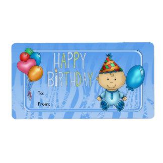 Etiquete a los niños azul del cumpleaños de la eti etiquetas de envío