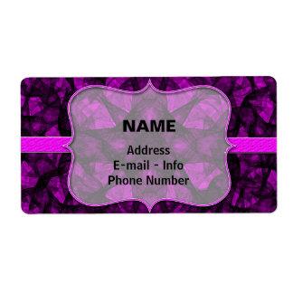 Etiquete el negro y el rosa del arte del fractal etiqueta de envío