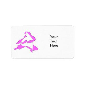 Etiquete el rosa del karate etiqueta de dirección
