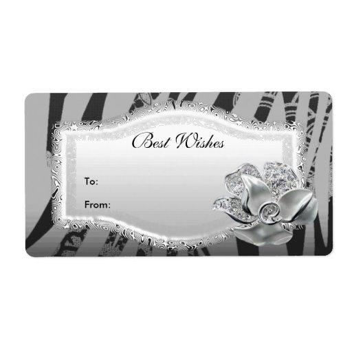 Etiquete la etiqueta del regalo floral de plata ne etiquetas de envío
