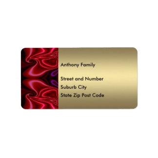 Etiquete la falsa púrpura roja de seda abstracta e etiqueta de dirección