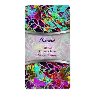 Etiquete las ilustraciones abstractas florales etiqueta de envío