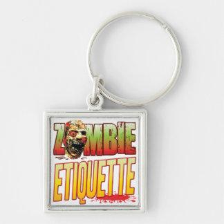 Etiquette Zombie Head Keychains