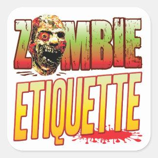 Etiquette Zombie Head Square Sticker