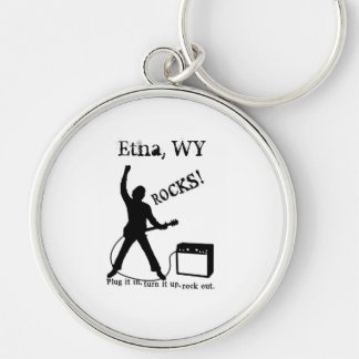 Etna, WY Silver-Colored Round Keychain