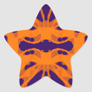 Etnic purple and orange star sticker