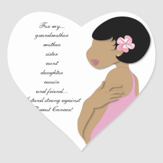Étnico me coloco fuerte contra cáncer de pecho calcomanías de corazones