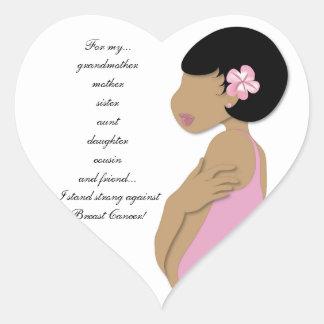 Étnico me coloco fuerte contra cáncer de pecho pegatina en forma de corazón