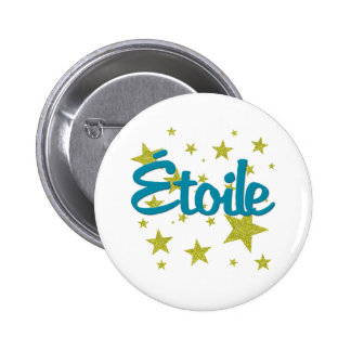 Etoile French with Stars 2 Inch Round Button