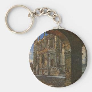 Eton College Chapel by Anna Alma Tadema Basic Round Button Keychain