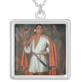 Etow Oh Koam, King of the River Nations, 1710 Square Pendant Necklace