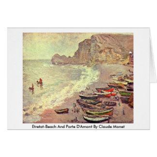 Etretat-Beach And Porte D'Amont By Claude Monet Card