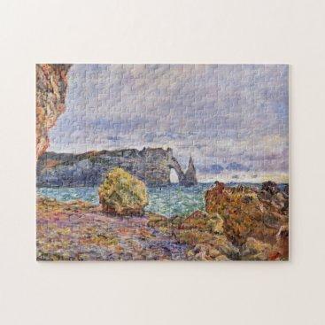 Beach Themed Etretat Beach & Porte d'Aval Monet Fine Art Jigsaw Puzzle