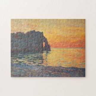 Etretat Cliff d'Aval Sunset Monet Fine Art Puzzle