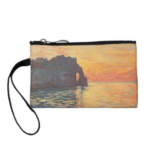Etretat, Cliff of d`Aval, Sunset - Claude Monet Change Purses
