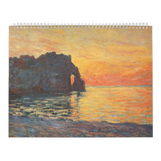 Etretat, Cliff of d`Aval, Sunset - Claude Monet Calendar