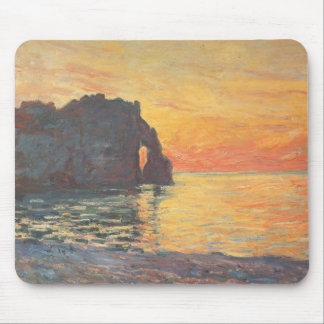 Etretat, Cliff of d`Aval, Sunset - Claude Monet Mouse Pad