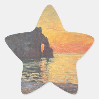 Etretat, Cliff of d`Aval, Sunset - Claude Monet Star Sticker