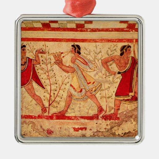 Etruscan musicians square metal christmas ornament