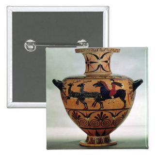 Etrusco-Ionian black-figure hydria depicting a hun 2 Inch Square Button