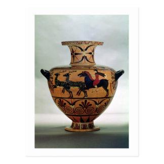 Etrusco-Ionian black-figure hydria depicting a hun Postcard
