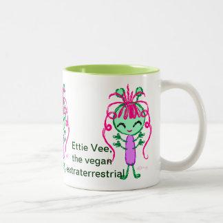 Ettie Vee, the Vegan Extraterrestrial Two-Tone Coffee Mug