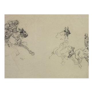 Etude de Chevaux (recto) (lápiz en el papel) Tarjetas Postales