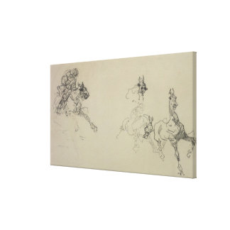 Etude de Chevaux (recto) (pencil on paper) Canvas Print