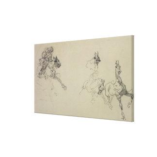 Etude de Chevaux (recto) (pencil on paper) Canvas Print