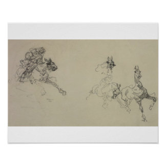 Etude de Chevaux (recto) (pencil on paper) Poster