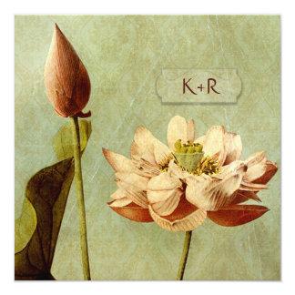 Etude de Fleurs Vintage Wedding Square 5.25x5.25 Square Paper Invitation Card