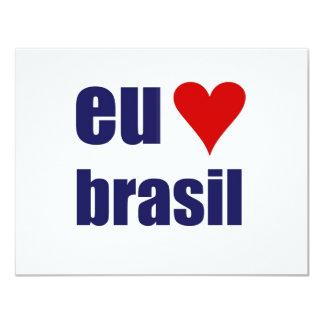 """eu amo el Brasil Invitación 4.25"""" X 5.5"""""""