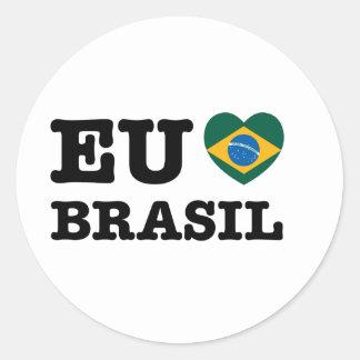 Eu Amo el Brasil Pegatina Redonda