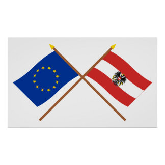 EU and Austria Crossed Flags Poster