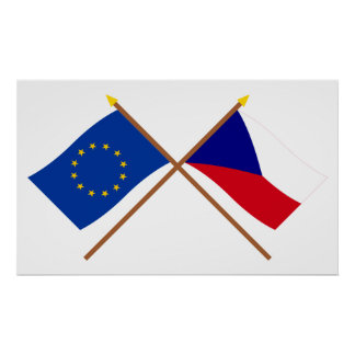 EU and Czech Republic Crossed Flags Poster