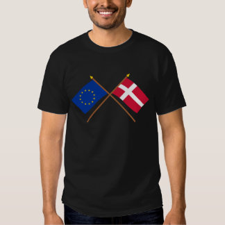 EU and Denmark Crossed Flags T-shirt