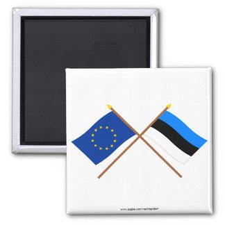 EU and Estonia Crossed Flags Magnet