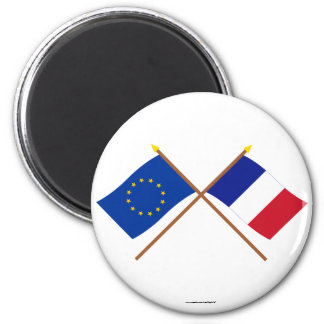 EU and France Crossed Flags Magnet