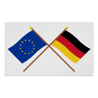 EU and Germany Crossed Flags Poster