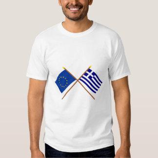 EU and Greece Crossed Flags Shirt