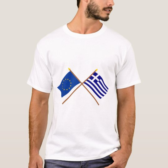 EU and Greece Crossed Flags T-Shirt