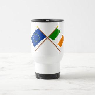 EU and Ireland Crossed Flags Travel Mug