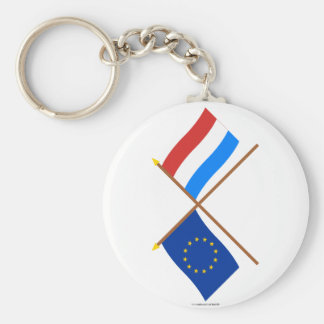 EU and Luxembourg Crossed Flags Keychain