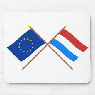 EU and Luxembourg Crossed Flags Mousepads