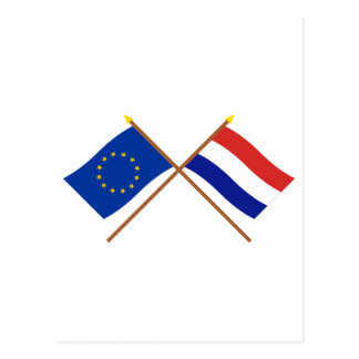 EU and Netherlands Crossed Flags Postcard
